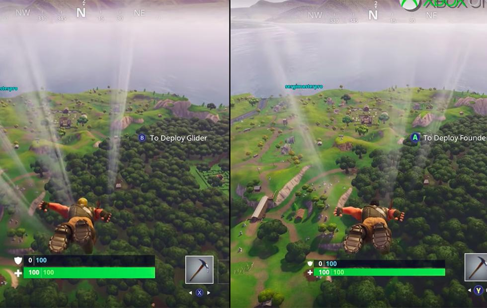 Fortnite On Nintendo Switch And Xbox One X Side By Side