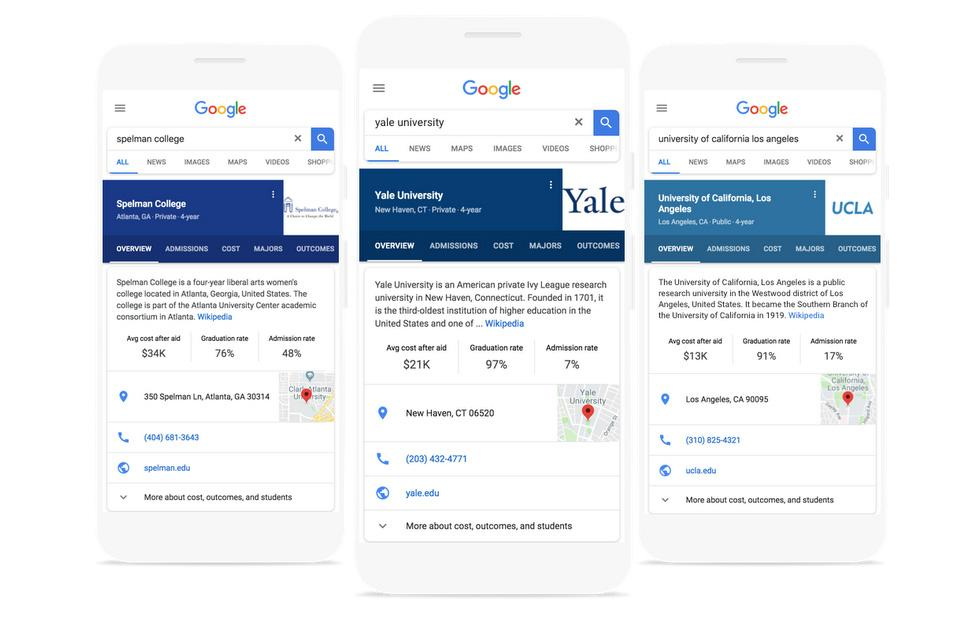 Google Search adds university stats cards to help future students
