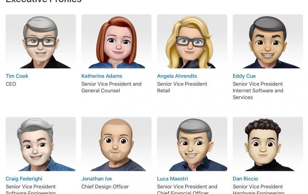 Apple's Memoji Executive Team headshots get an emoji twist