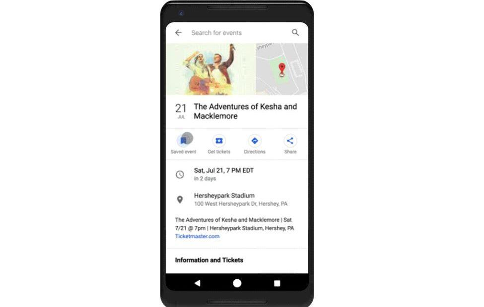 Google Search puts local event information front and center