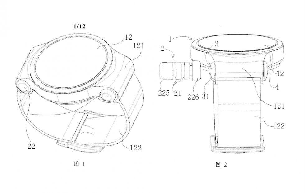 Huawei smartwatch design cleverly hides two wireless earbuds