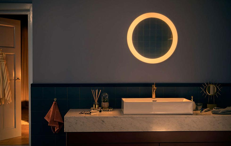 Philips Hue Adore Bathroom connected mirror emits soft, warm glow
