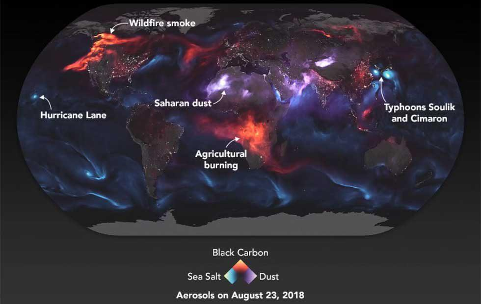 NASA's colorful image shows glowing smoke and dust around the planet