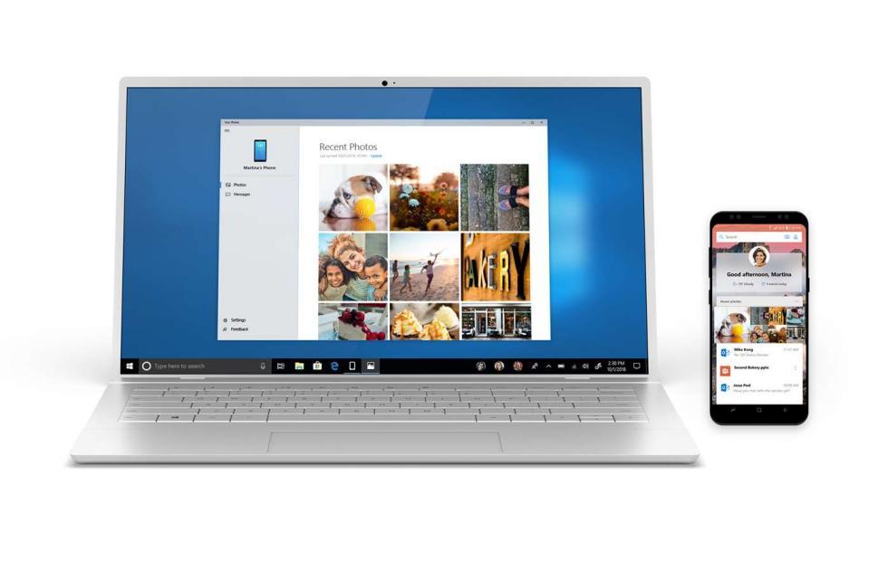 Microsoft Your Phone app available already on Windows 10 version 1803