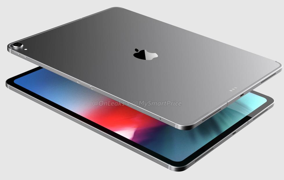 iPad Pro 12.9 renders show a symmetrical, notch-less face