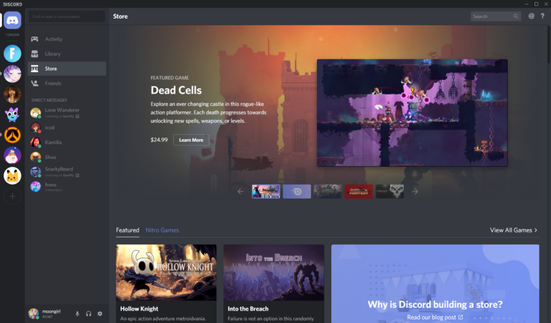 Discord's new game store launches in beta around the world