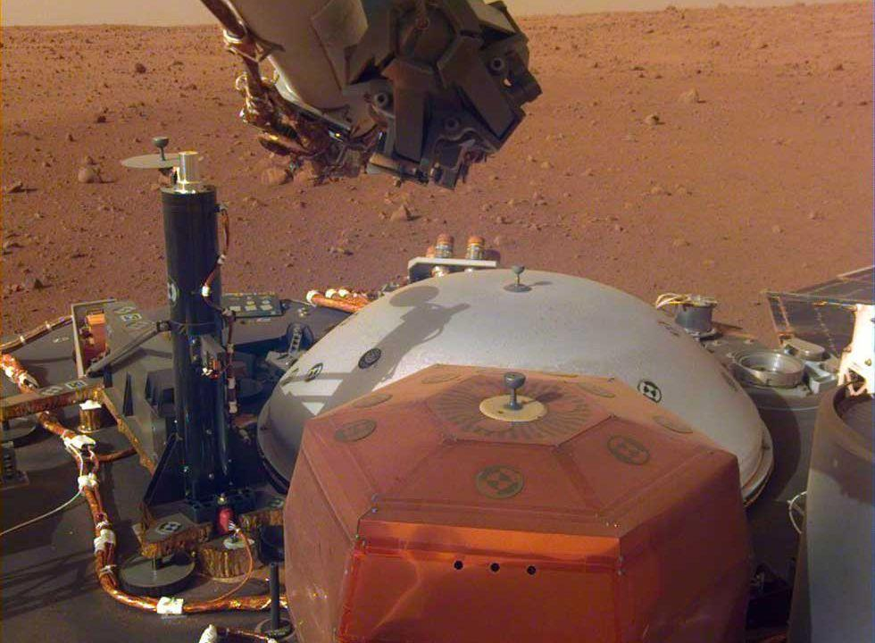 NASA shares an image of InSight readying its robotic arm