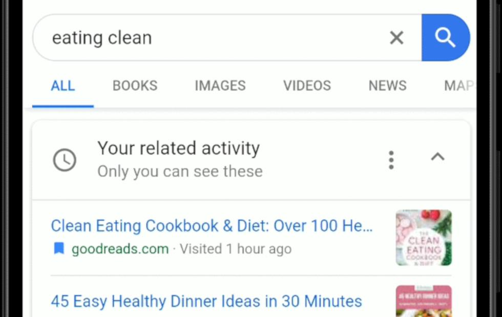 Google Search activity cards continue your past searches