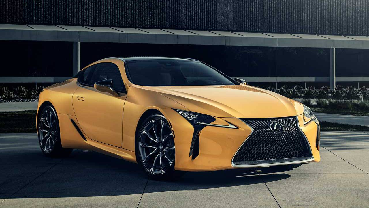 2019 Lexus LC 500 Inspiration rocks Flare Yellow paint and 471hp
