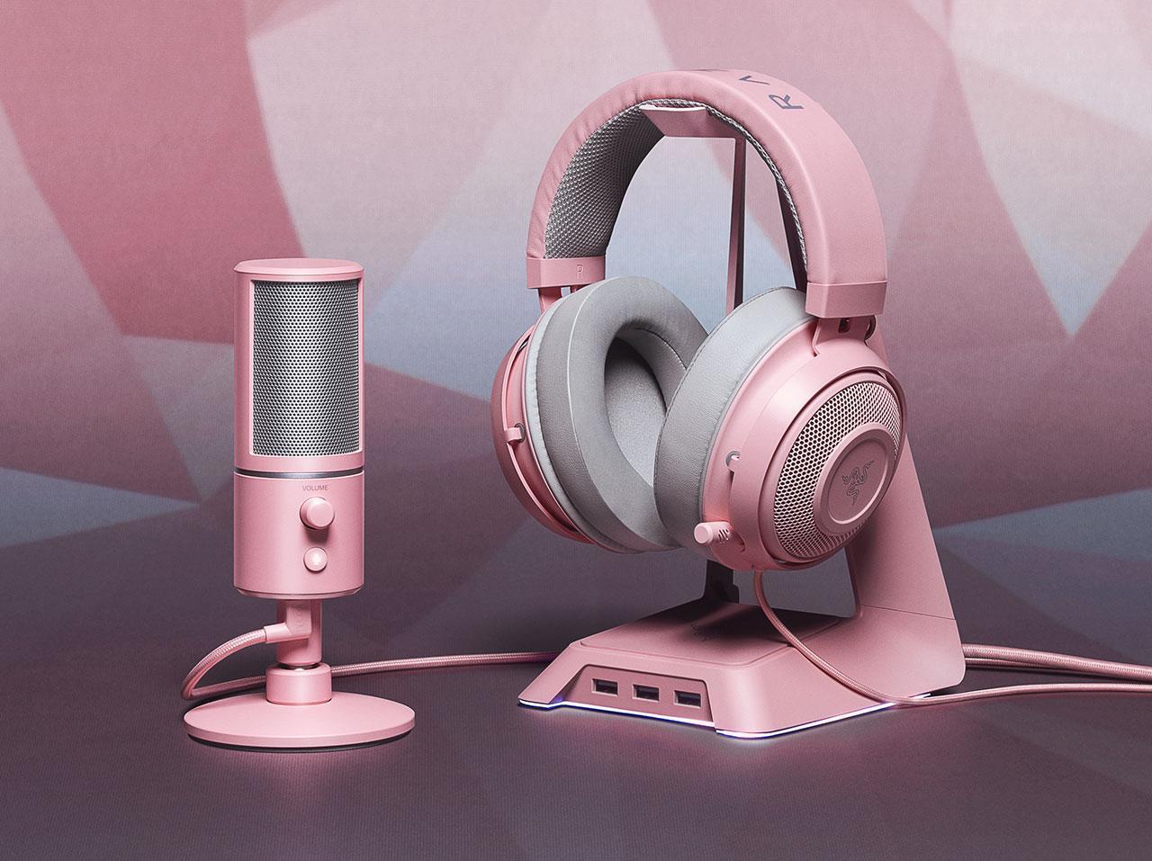 Razer Quartz Pink gaming accessories, laptop detailed