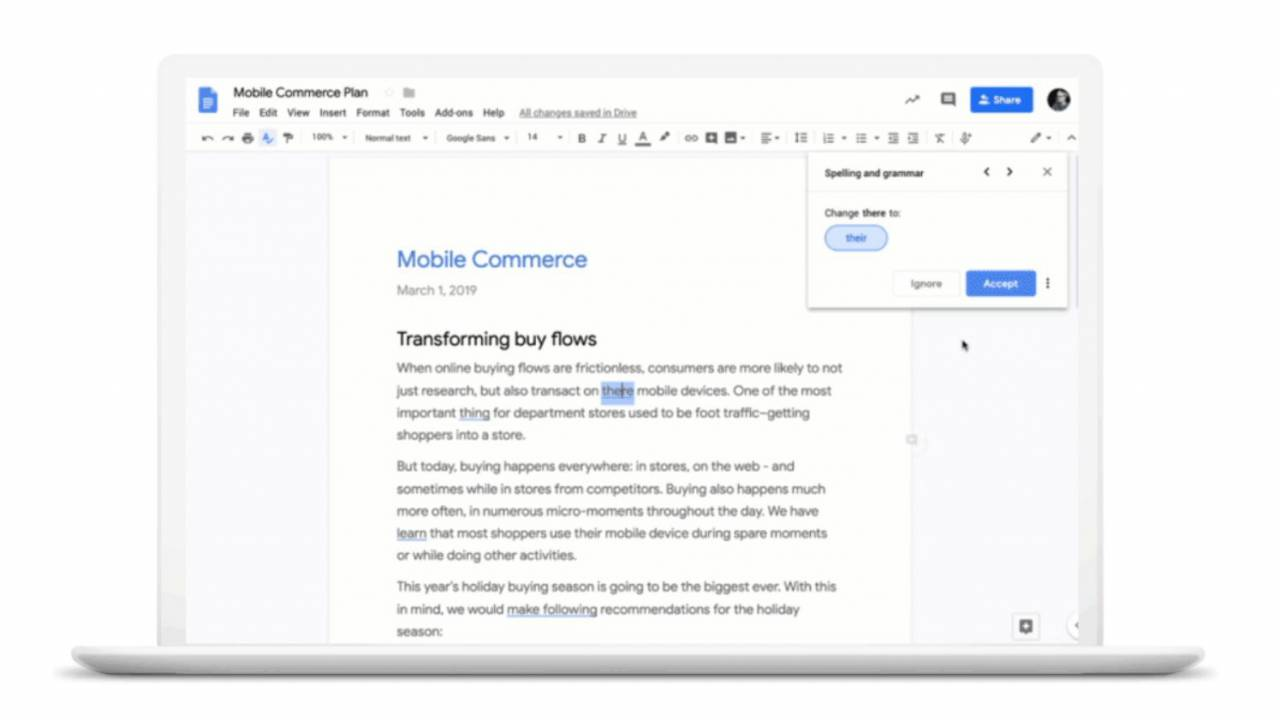 Google Docs grammar suggestions begin rolling out to more users