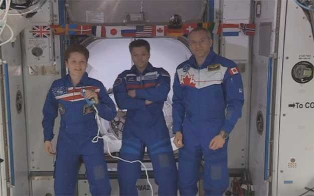 ISS crew officially welcomes SpaceX Crew Dragon capsule