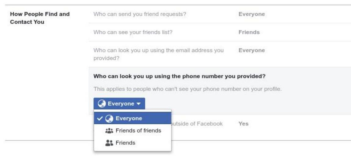 Facebook phone numbers used for security can be used to look