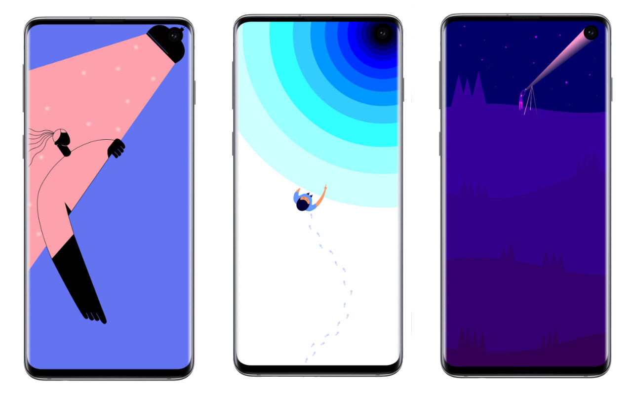 These Clever Galaxy S10 Wallpapers Embrace The Hole Punch Camera Slashgear