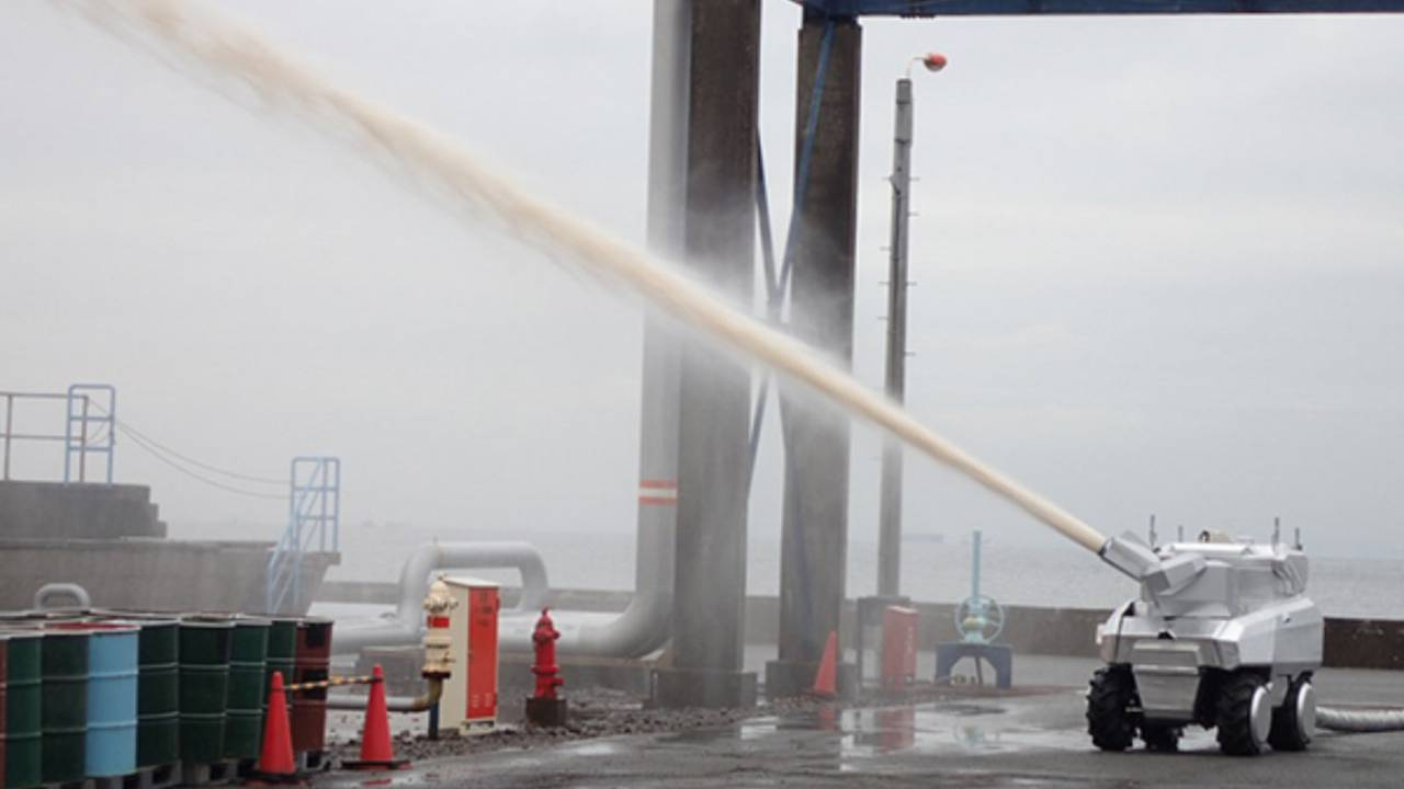 Mitsubishi reveals autonomous firefighting water cannon robot