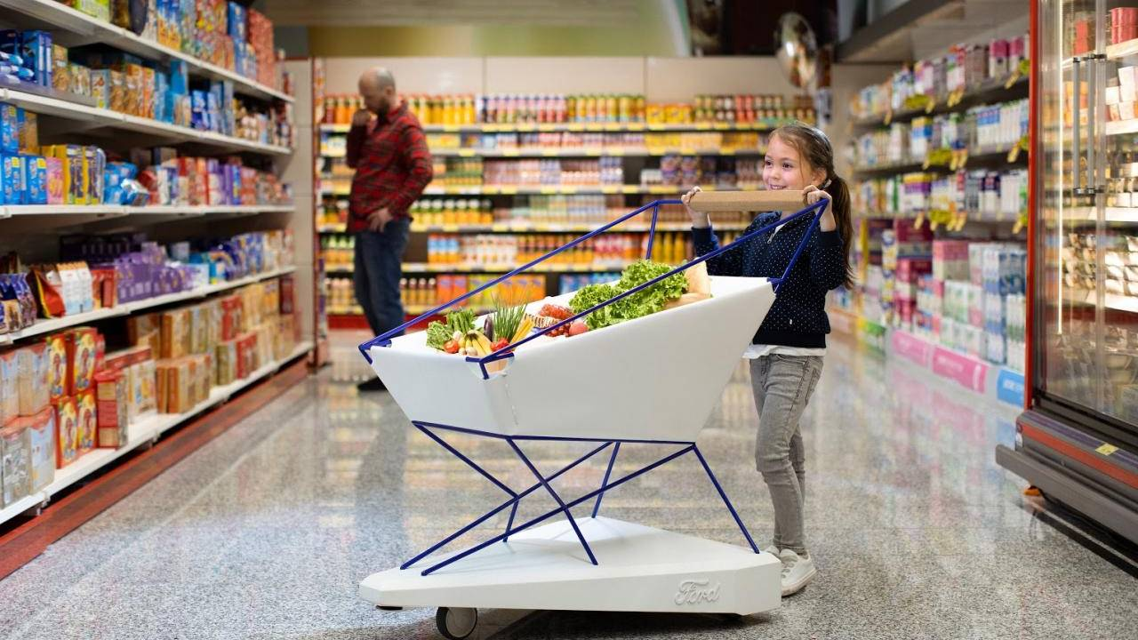 Ford Self-Braking Trolley applies driver assistance tech to shopping