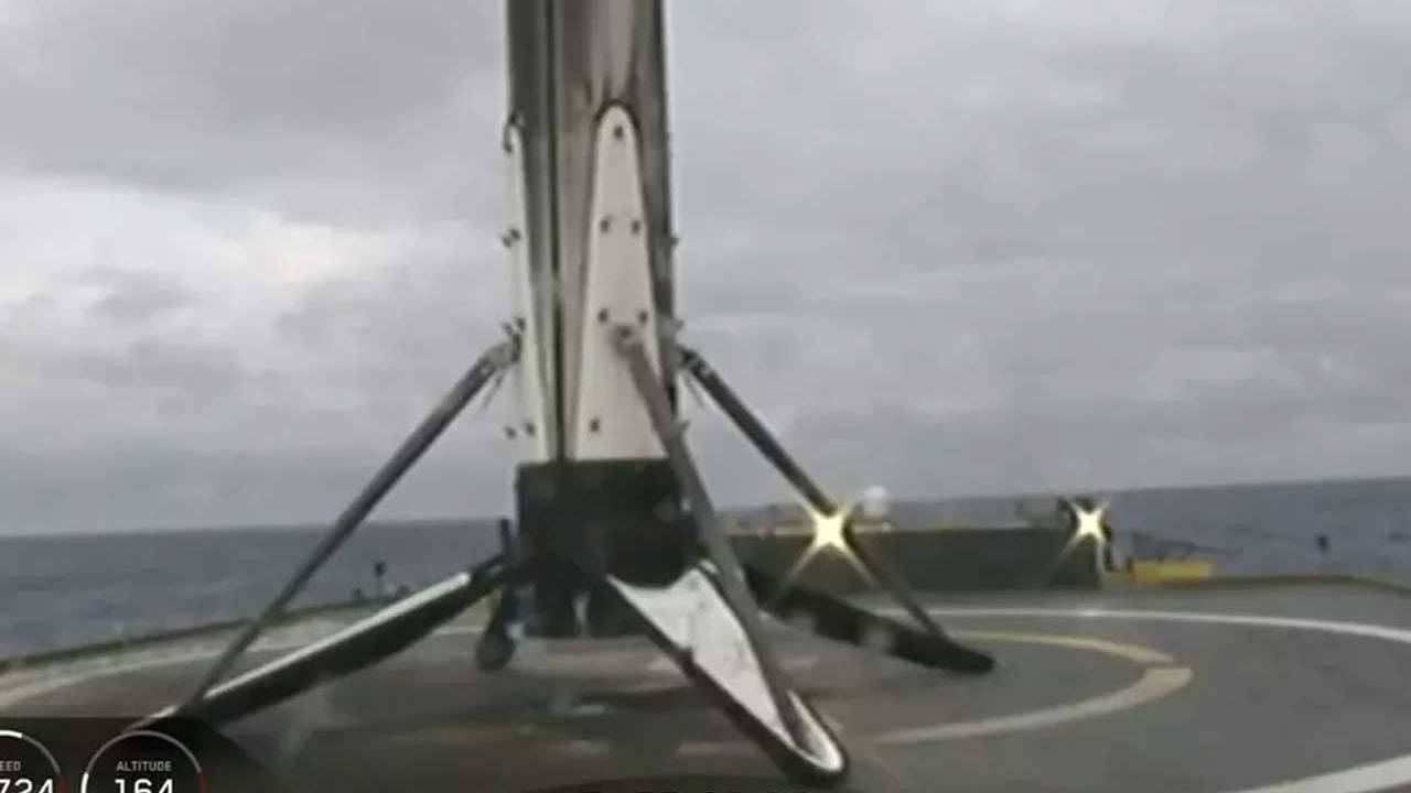 SpaceX Falcon Heavy center core stuck the landing before sliding into the abyss