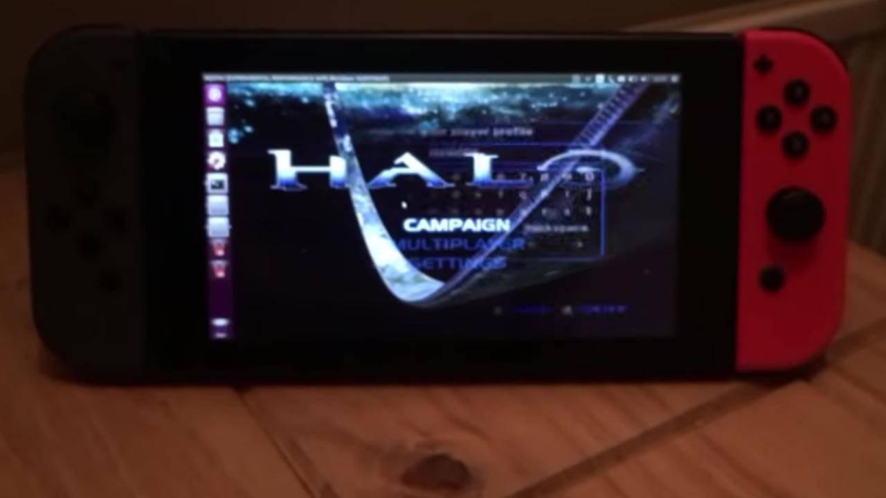 Nintendo Switch made to run Halo via XQEMU emulator on Linux