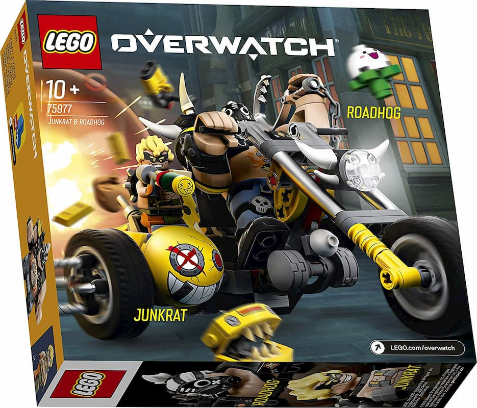 Overwatch LEGO sets with Junkrat, Wrecking Ball, and Roadhog