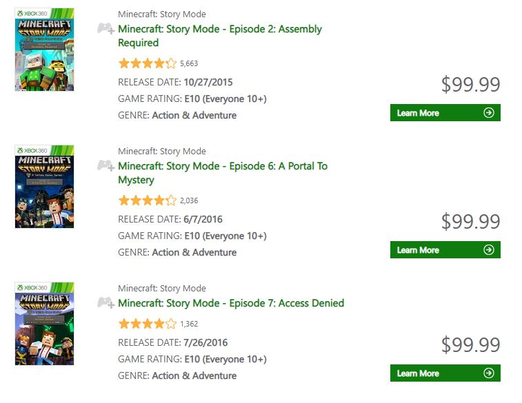 Minecraft: Story Mode episodes get a huge Xbox 360 price hike, but
