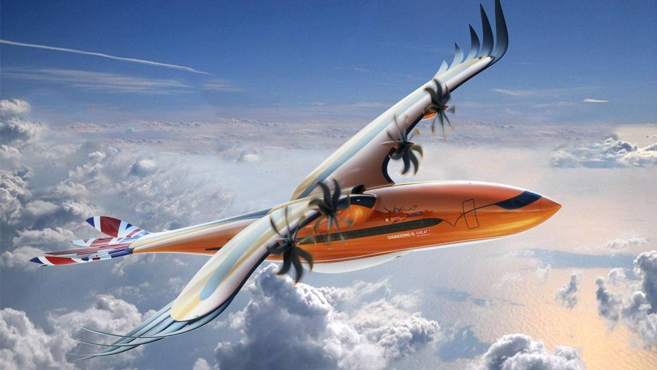 Airbus hybrid electric airliner concept looks like a bird of prey
