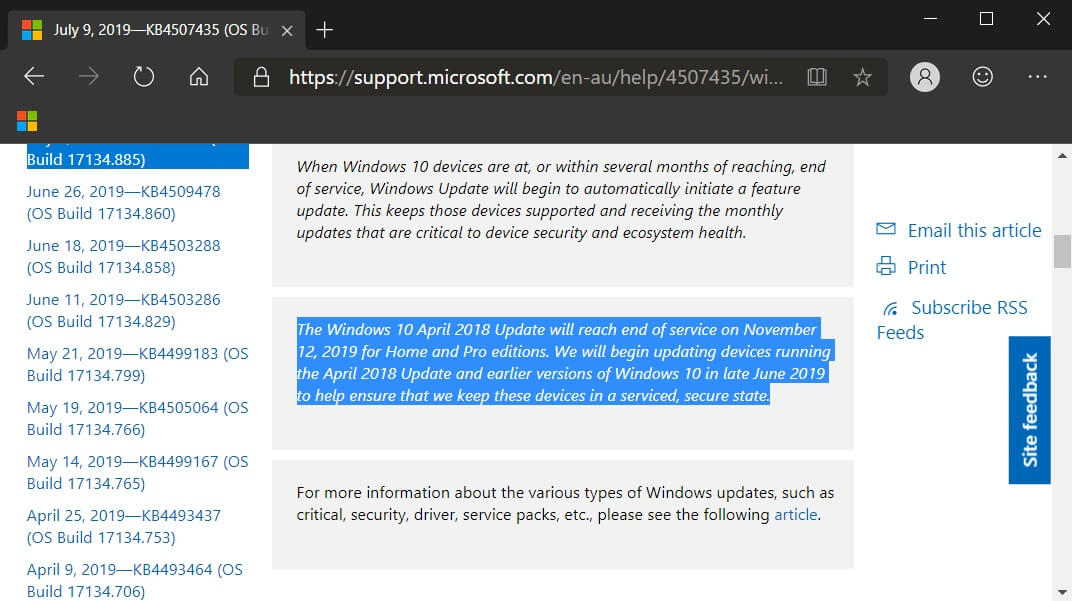 Windows 10 will now warn users if their version will soon be