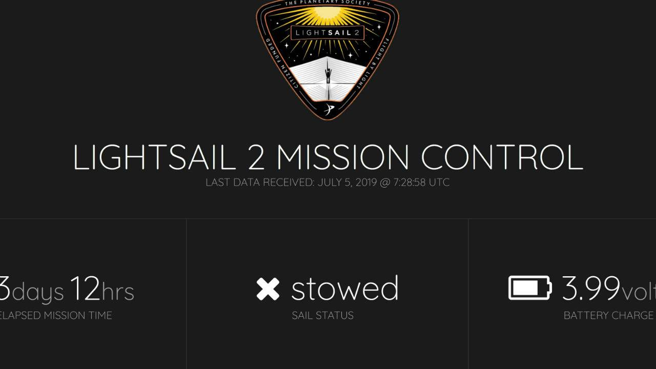 LightSail 2 mission dashboard shows public solar spacecraft's status