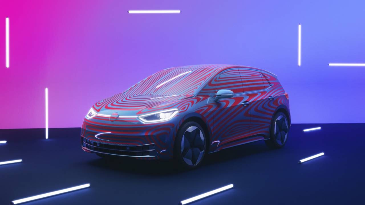 The VW ID.3 dashboard shows Volkswagen's cabin vision for EVs