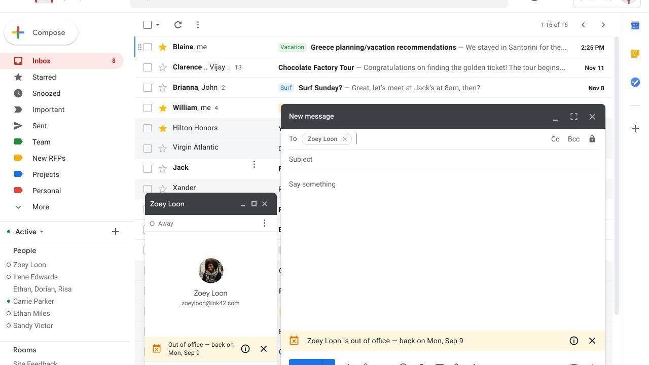 Gmail and Hangouts will start showing out of office notifications for users