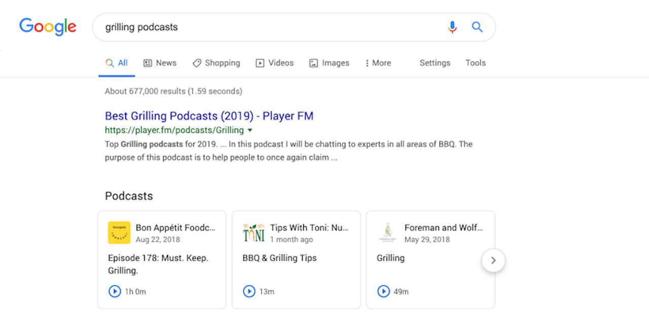 Google Search can now play podcasts directly from results