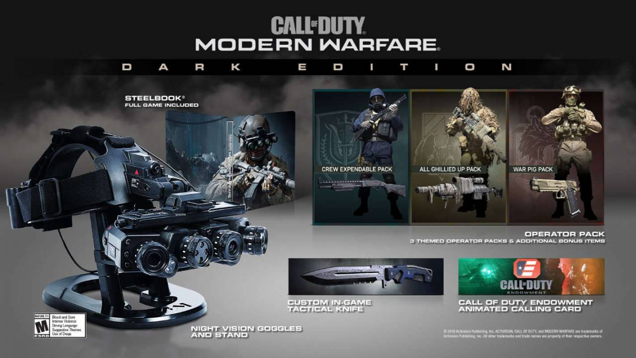 Call of Duty: Modern Warfare: Dark Edition includes real night vision goggles