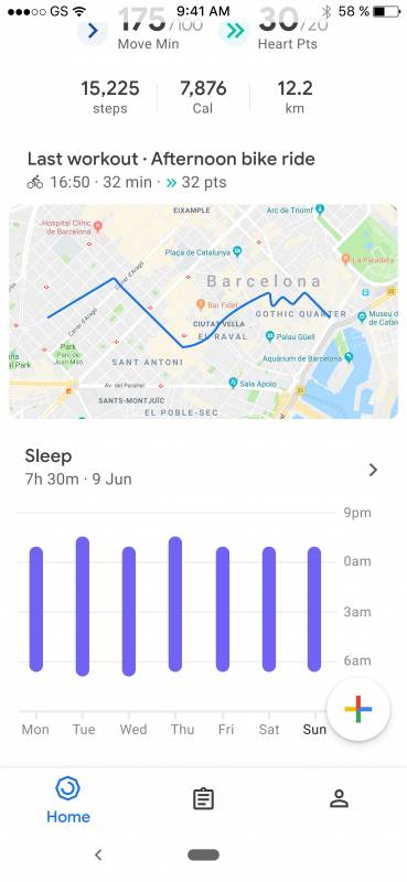 Google Fit dark mode, sleep charts and iOS workout maps