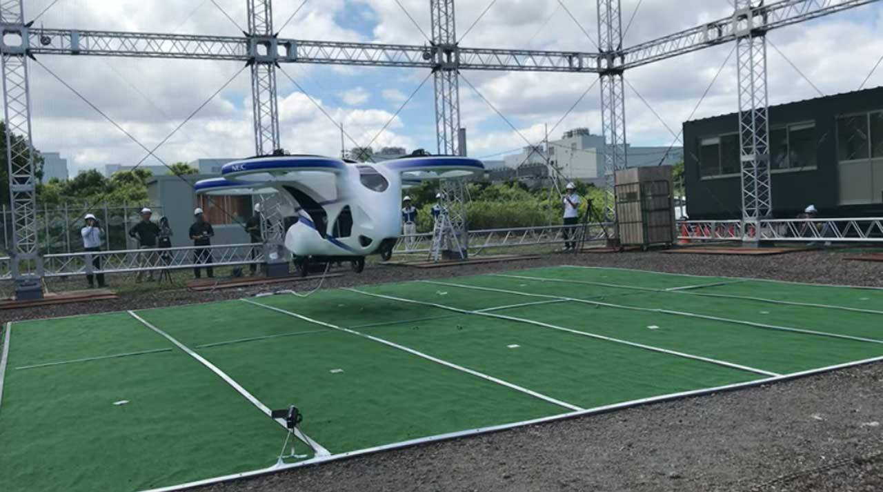 NEC flying car hovers in the air for a minute