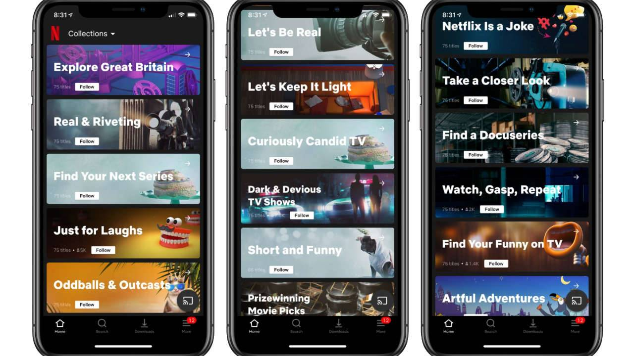 Netflix Collections test on iOS presents human-curated content