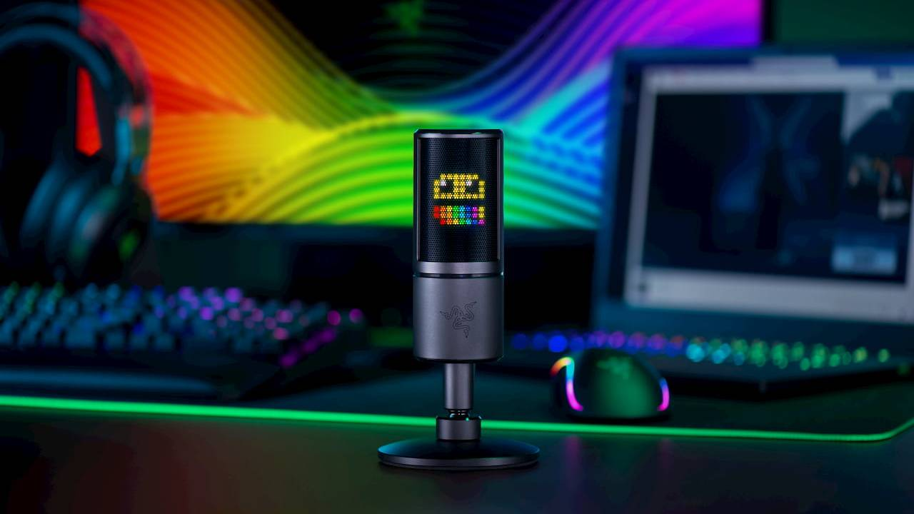 Razer Seiren Emote microphone has an emoticon display for streamers