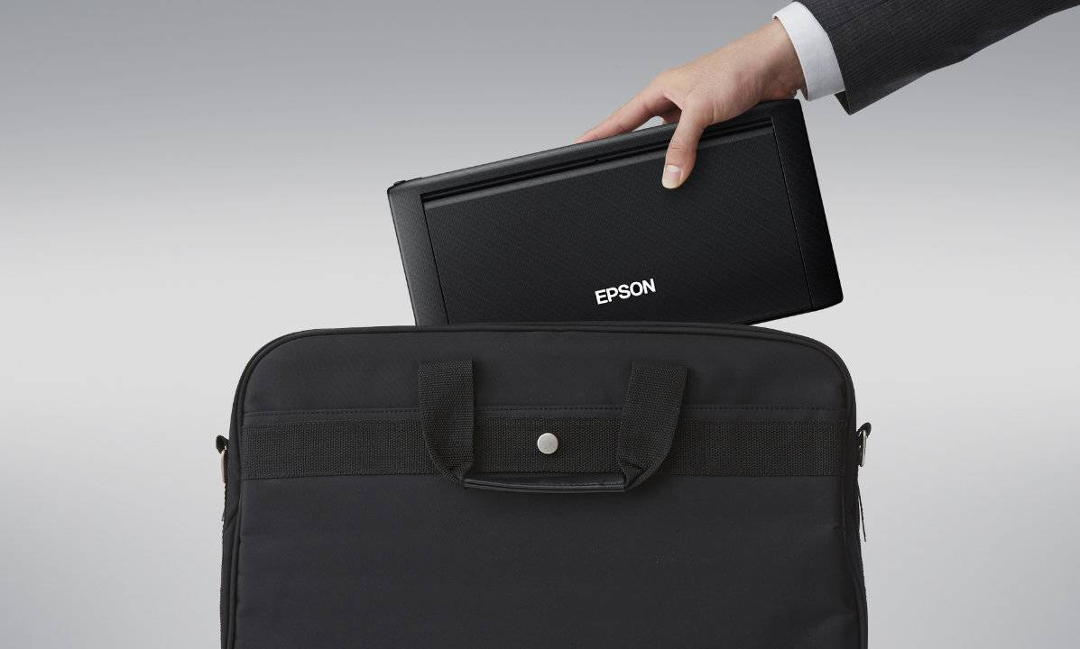 Epson WorkForce WF-110 mobile color printer fits in a briefcase