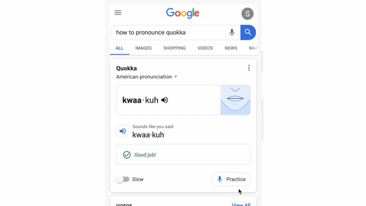 Google Search lets you practice pronunciations directly in results