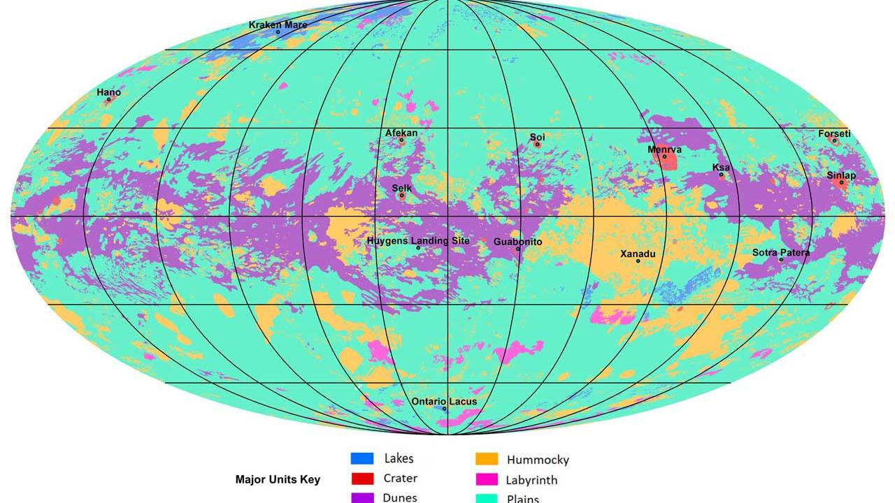 NASA reveals the first global geologic map of Titan