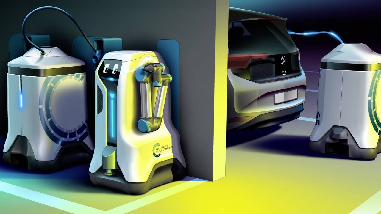 Volkswagen mobile charging robot drives to where electric cars are parked