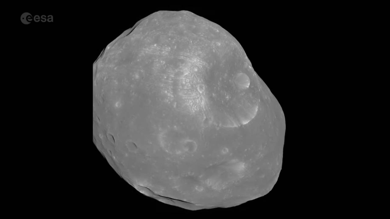 Mars Express spacecraft's new Phobos video shows rare phase angle