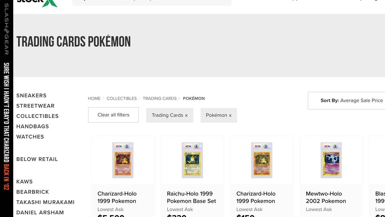 Pokemon cards now bought/sold on product stock market StockX