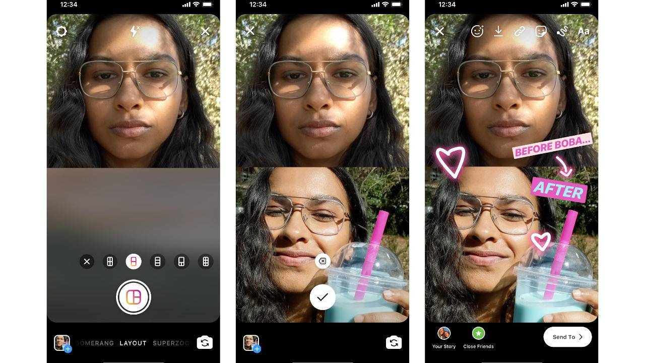 Instagram integrates Layout to take multiple photos in one Story