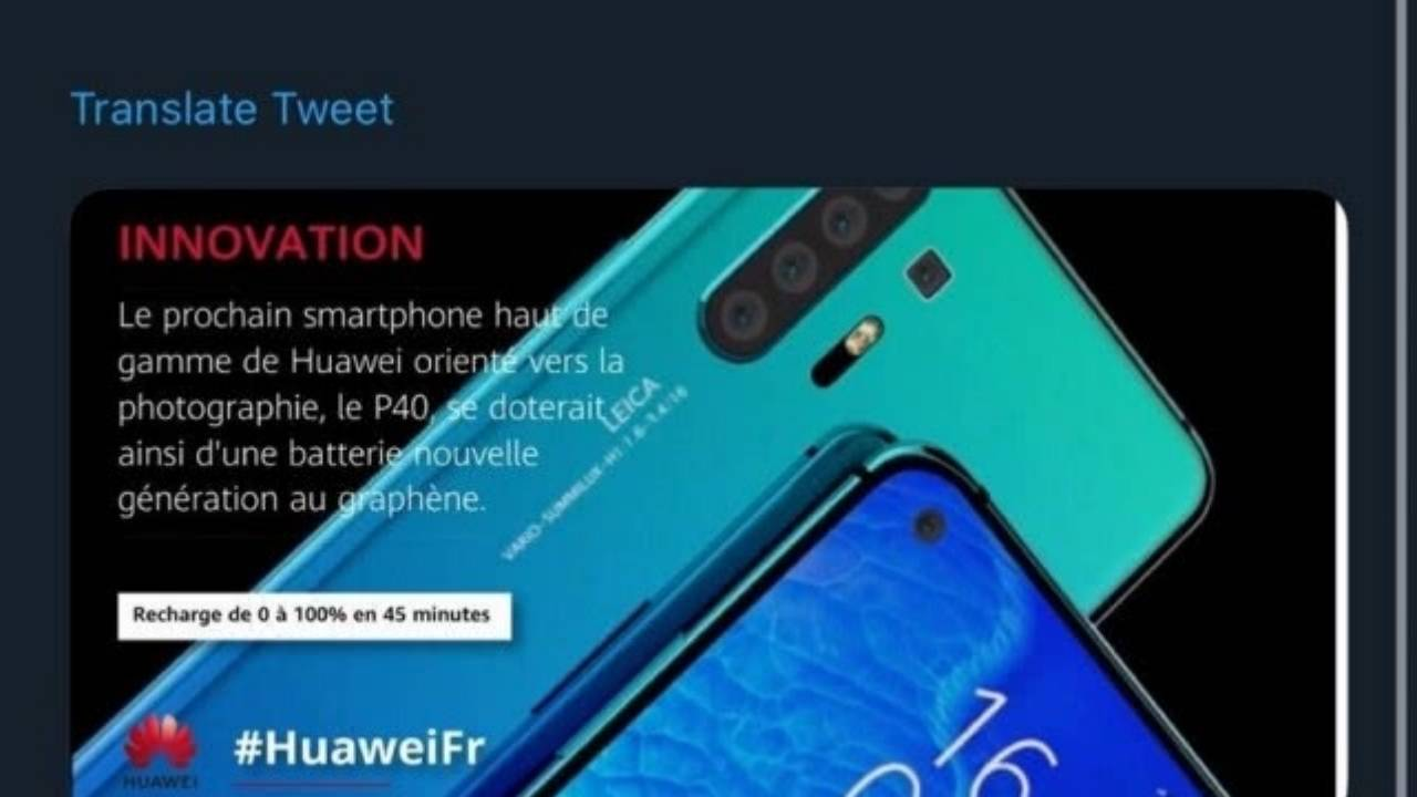 Huawei P40 won't have a graphene battery after all