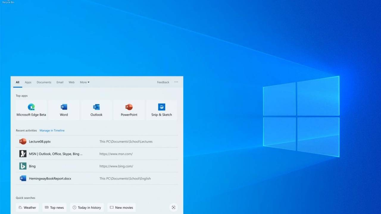 Windows Search Bar becomes a Bing-powered mini web browser