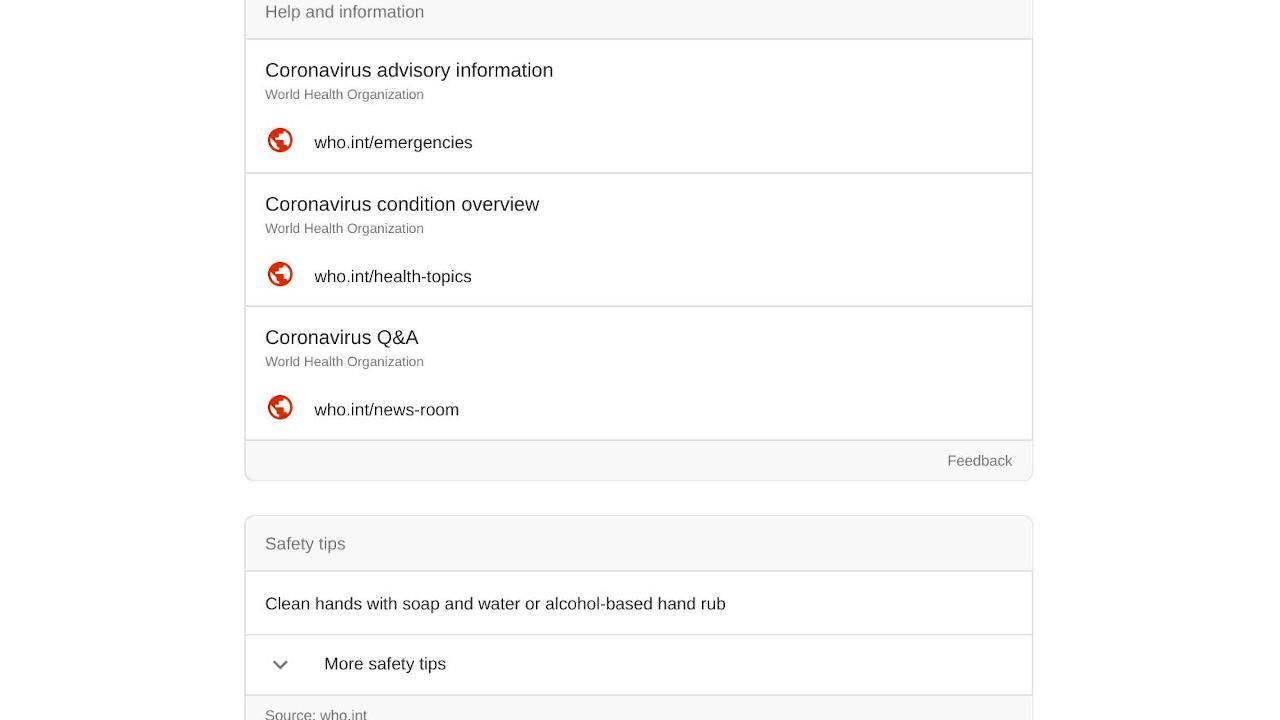 Google search results for coronavirus includes SOS Alert info