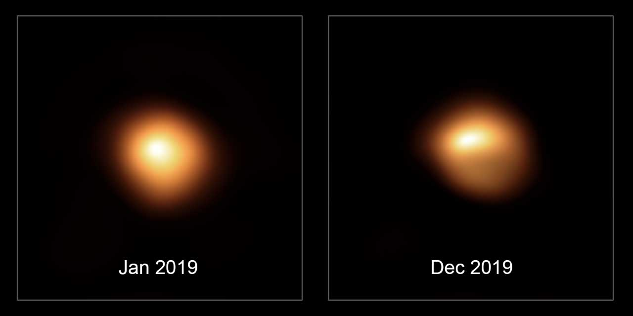 ESO Very Large Telescope views Betelgeuse before and after it dimmed