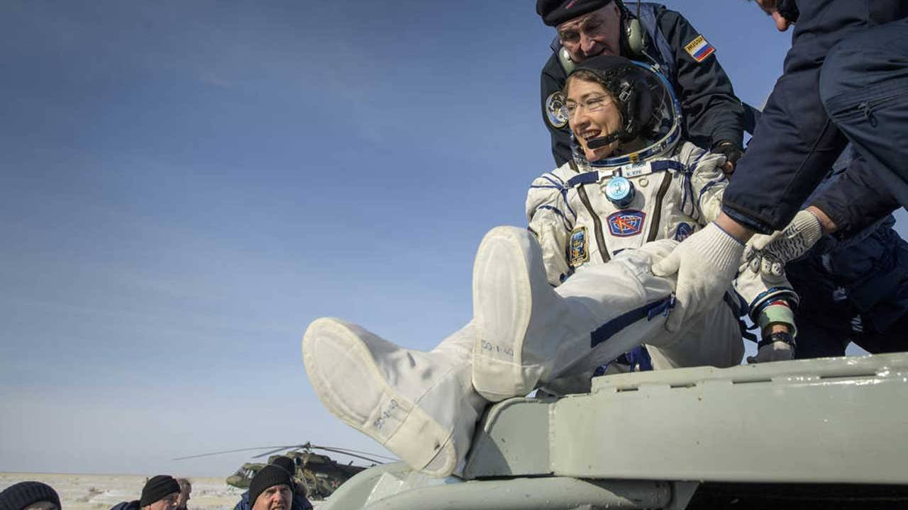 NASA astronaut Christina Koch and crewmates return to Earth