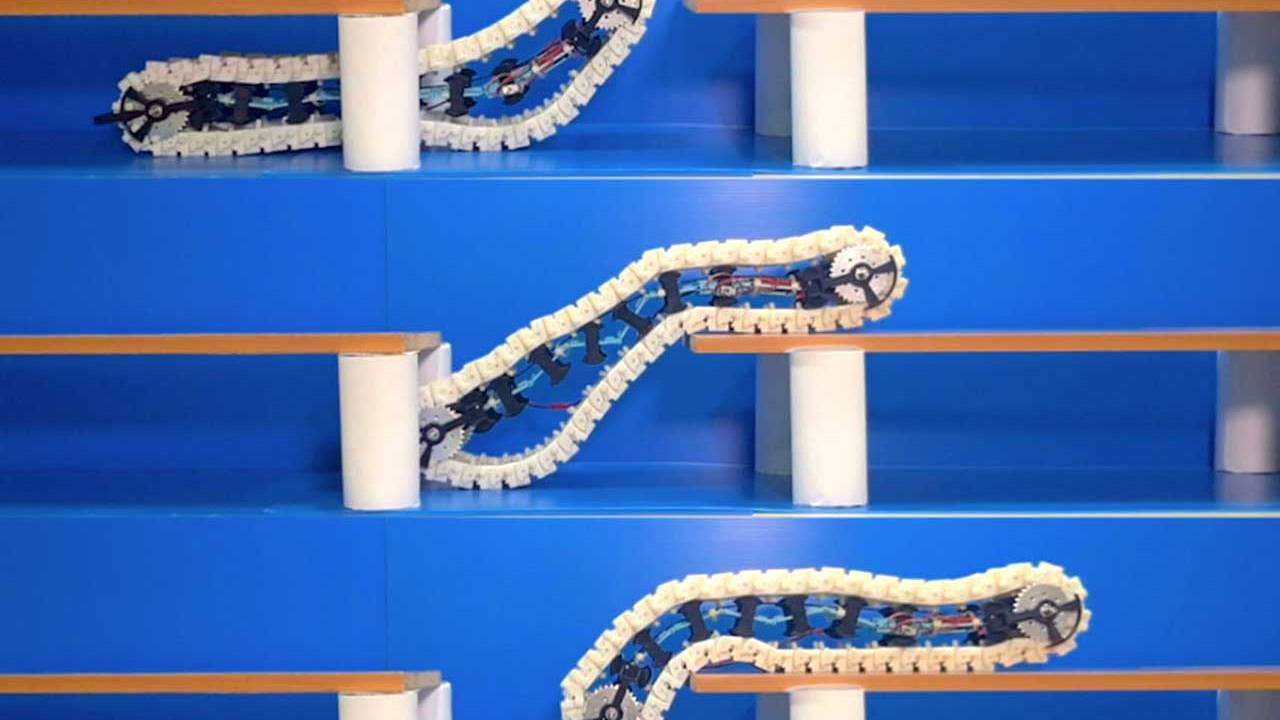 Minimally articulated robot can climb its own track