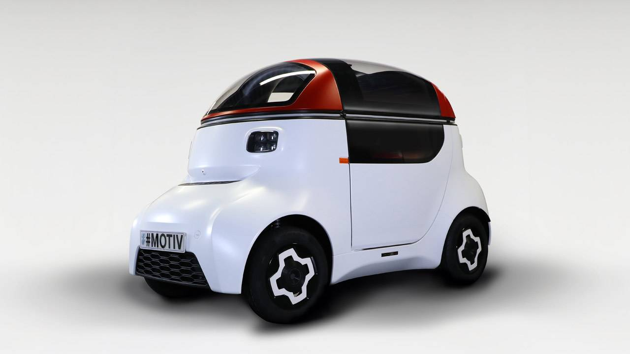Gordon Murray reveals MOTIV autonomous pod car with one gull-wing door