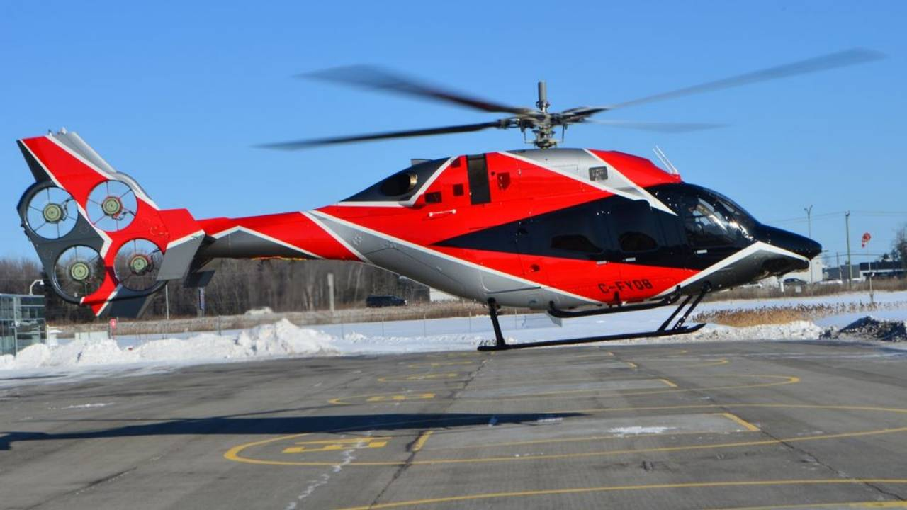 Bell helicopter has four small tail fans instead of one big rotor